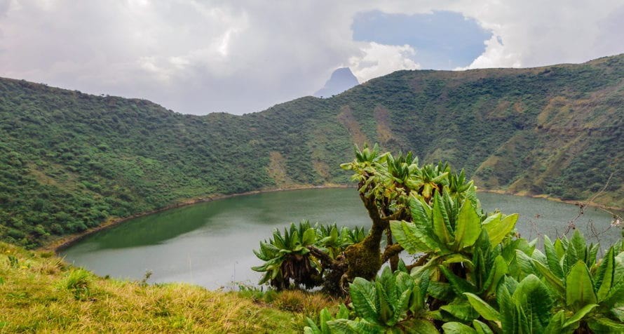 Bisoke Crate Lake is in Rwanda's Volcanoes National Park. © Shutterstock