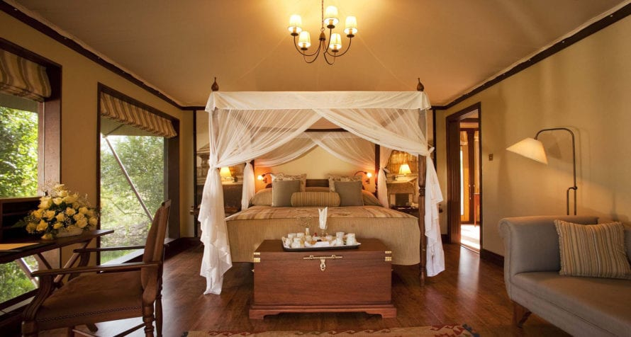 Sleep like royalty at Lake Elmenteita Serena Camp. © Serena Hotels