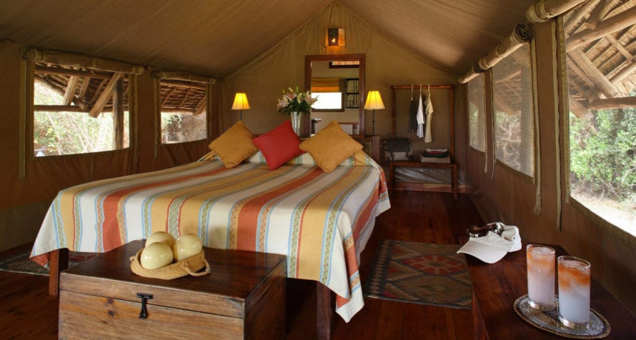 Elewana Tortilis Camp Amboseli offers a choice of 16 spacious tented rooms. © Elewana Collection