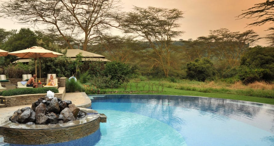 Spend lazy afternoons by the pool at Lake Elmenteita Serena Camp. © Serena Hotels