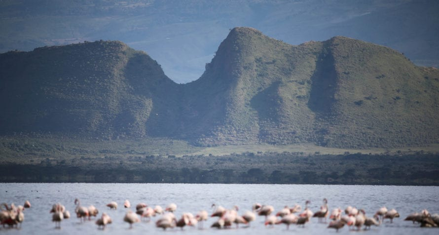 The sapphire-blue sodic lake and jagged volcanoes make an unforgettable first impression at Lake Elmenteita Serena Camp. © Serena Hotels
