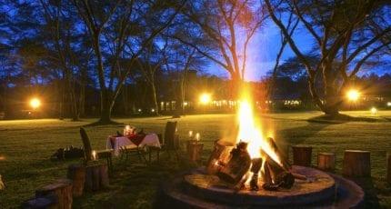 Campfires are commonplace at Lake Naivasha Simba Lodge. © Lake Naivasha Simba Lodge