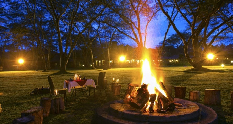 Campfires are commonplace at Lake Naivasha Simba Lodge. © Lake Naivasha Simba Lodge