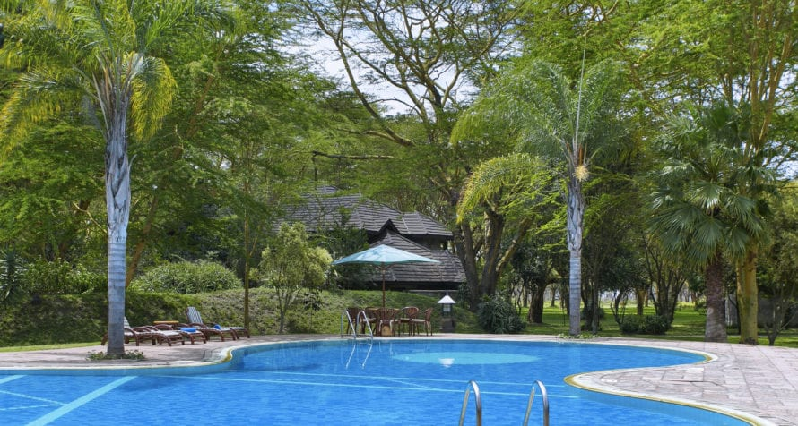 Lake Naivasha Simba Lodge's swimming pool, gymnasium and tennis courts provide the kind of workout not often found in the bush. © Lake Naivasha Simba Lodge