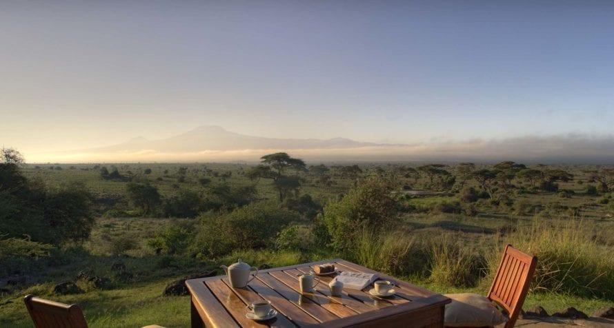 Enjoy tea with a view of Kilimanjaro at Elewana Tortilis Camp Amboseli. © Elewana Collection