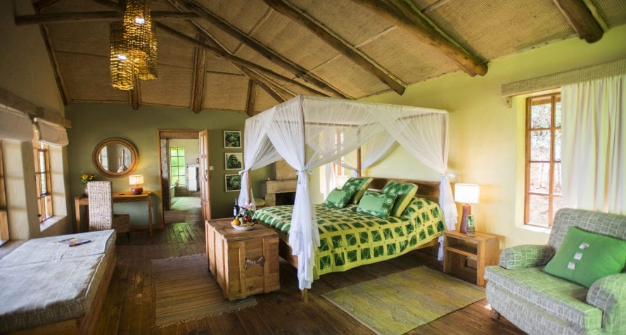 Catch your breath in the breezy rooms at Volcanoes Virunga Lodge. © Volcanoes Safaris