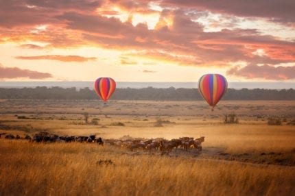 Hot-air ballooning over the Masai Mara is a bucket-list experience. © Shutterstock