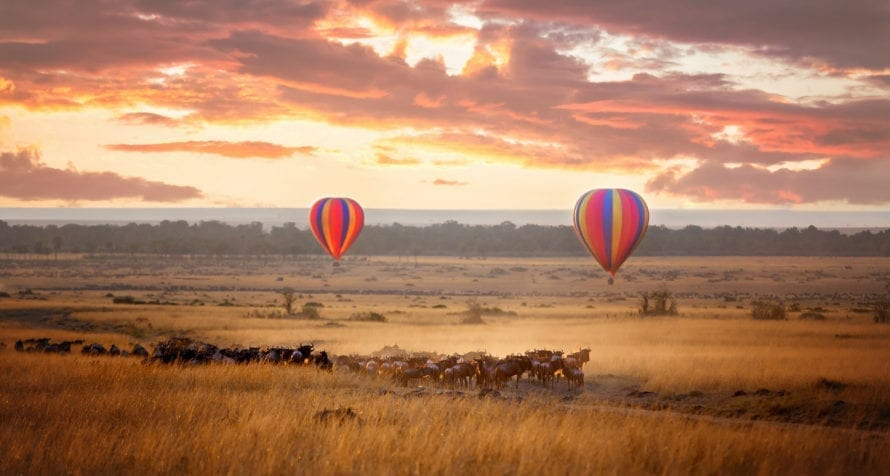 Hot-air ballooning over the Masai Mara is a bucket-list experience. © Shutterstock