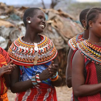 Samburu people are recognisable by their vibrant clothes. © Shutterstock