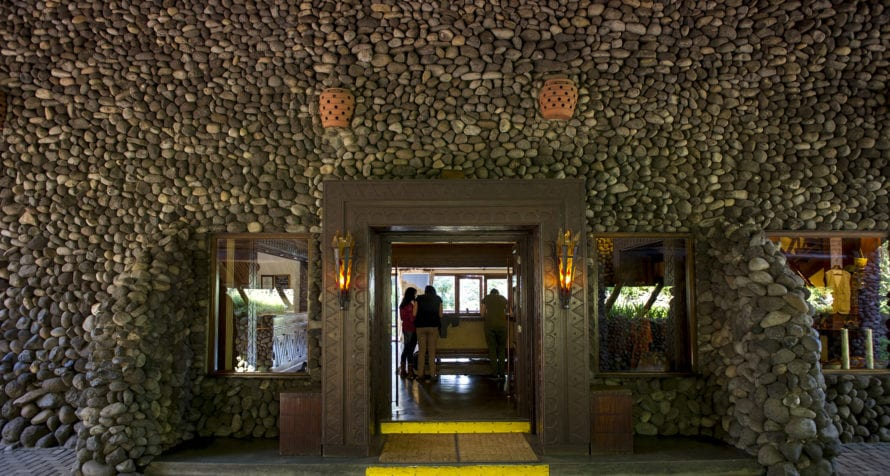 Local stone is part of the architecture at Ngorongoro Serena Lodge. © Serena Hotels