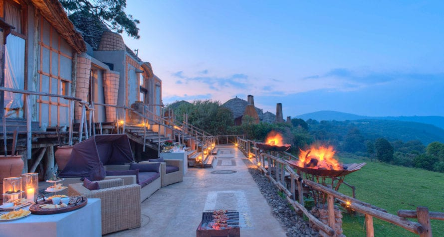 Big fires take the chill out the evening air at &Beyond Ngorongoro Crater Lodge © &Beyond