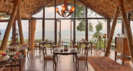 Enjoy breakfast with a view at &Beyond Ngorongoro Crater Lodge © &Beyond