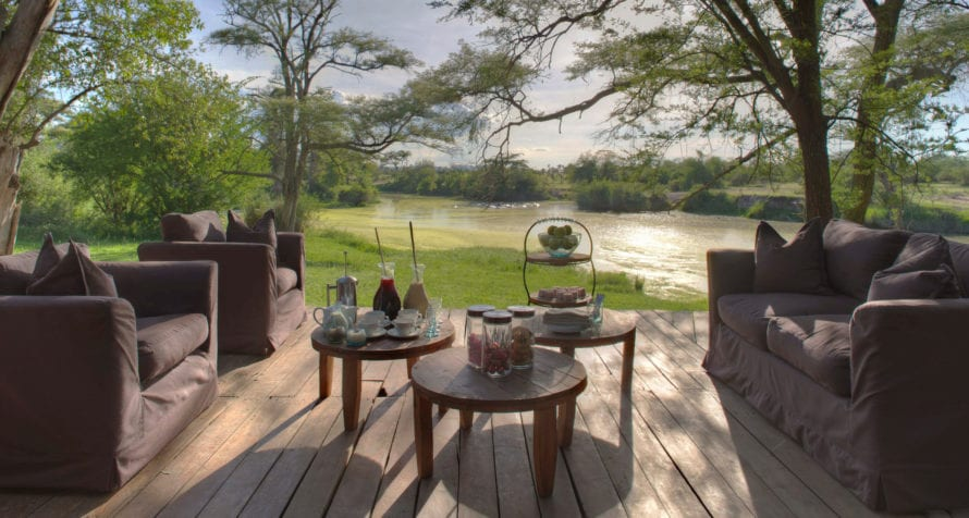 &Beyond Grumeti Serengeti Tented Camp lies in the path of the Great Wildebeest Migration. © &Beyond