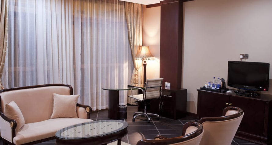 Marriott Protea Hotel Entebbe has a variety of room types, including this executive suite. © Marriott
