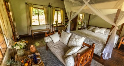 The stone-and-timber bandas at Volcanoes Bwindi Lodge do a wonderful job of keeping guests comfortable. © Volcanoes Safaris
