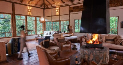 Evenings are cosy at Volcanoes Bwindi Lodge. © Volcanoes Safaris
